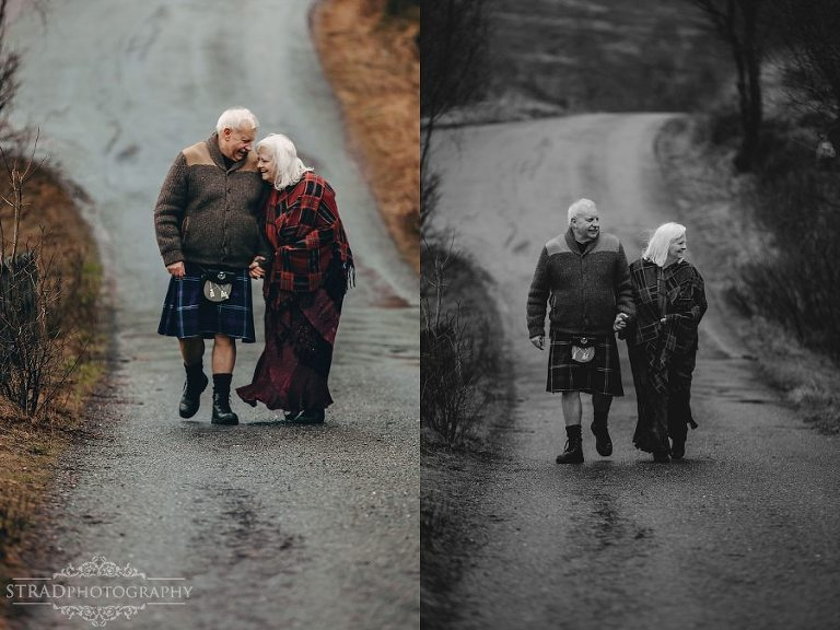 beautiful scenery, deers, elderly couple, engagement photography, glasgow photographer, glen etive, Glencoe, grandma, grandpa, hiking, kilt, landscapes, man and woman, marr, marriage, old couple, old married couple, older couple photo shoot in Glencoe Scotland, outlander, poncho, posing ideas, scotland, scottish couple, scottish highlands, senior couple, tartan